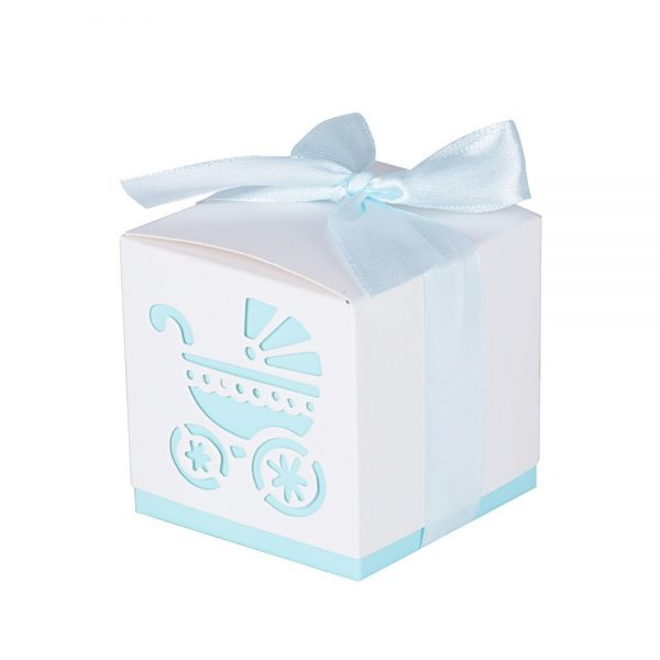 50 cajas de papel para bautizo color azul