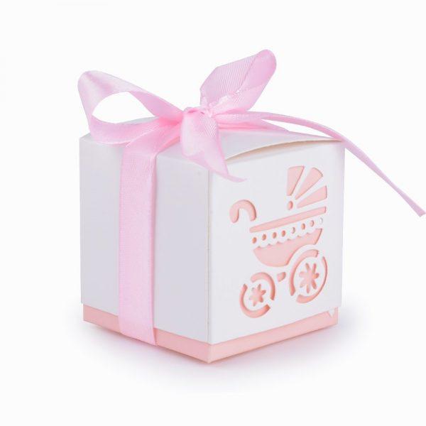 50 cajas de papel para bautizo color rosa