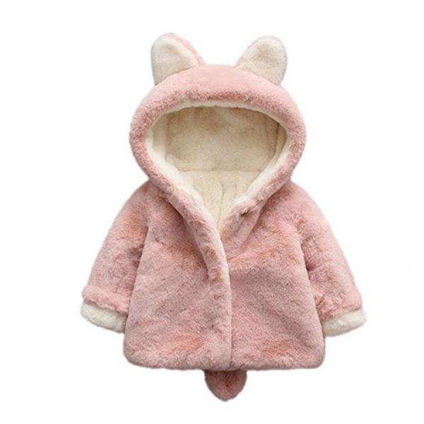 Abrigo con capucha orejas de conejito