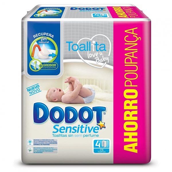 Dodot Sensitive - Toallitas para bebé, 4 Paquetes de 54 unidades, 216 toallitas