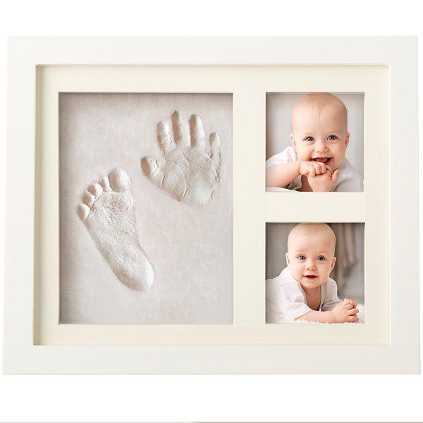 Kit de huellas y manos de bebé con marco de fotos