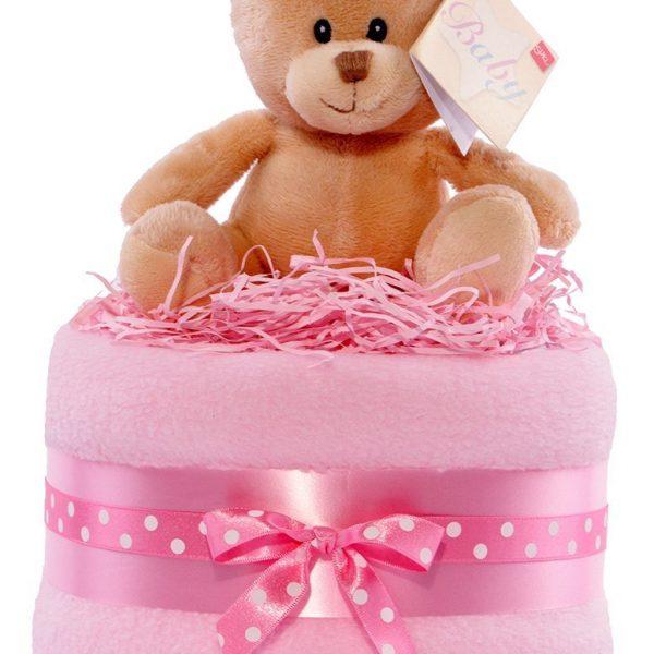 tarta de pañales para bebé niña